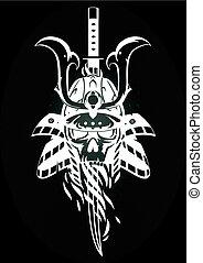 samurai, totenschädel, helm