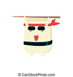 Samurai Training Funny Maki Sushi Character. Silly Childish...