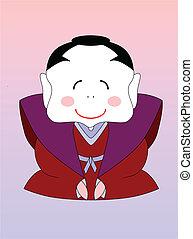 samurai, vector, japonés, caricatura