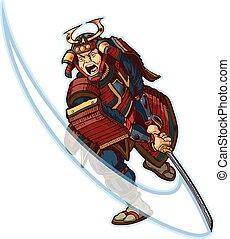 samurai, vector, kunst, hakken, klem