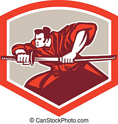 Samurai Warrior Drawing Katana Sword Shield - Illustration...