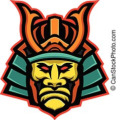 samurai-warrior-head-frnt-MASCOT - Mascot icon illustration...