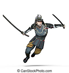 Samurai warrior - Image of a samurai warrior. The man is CG.