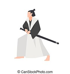 Samurai warrior isolated on white background. Brave Japanese...