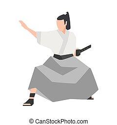 Samurai warrior isolated on white background. Brave Japanese...