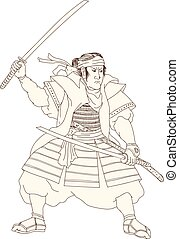 Samurai Warrior Katana Fight Stance Woodblock - Woodblock...