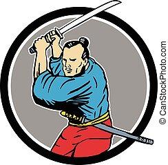 Samurai Warrior Katana Sword Circle Drawing