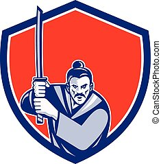 Samurai Warrior Katana Sword Shield Retro