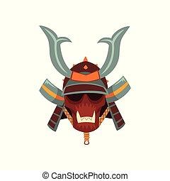 Samurai warrior mask and helmet vector Illustration on a...