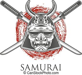 Samurai Warrior Mask With Katana Sword. Label,badge...