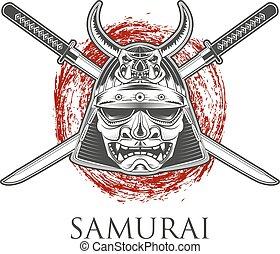 Samurai Warrior Mask With Katana Sword. Label,badge...