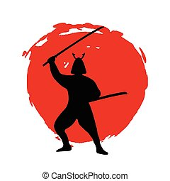 Samurai Warrior Silhouette on red moon and white background.