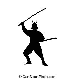 Samurai Warrior Silhouette on white background.
