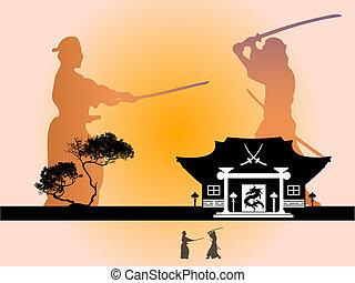Samurai warrior silhouettes