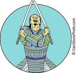 Samurai Warrior Two Swords Looking UP Circle Drawing