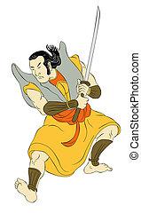 Samurai warrior with katana sword fighting stance - ...