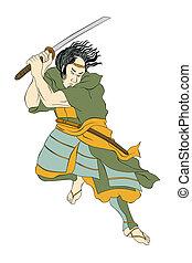 Samurai warrior with katana sword fighting stance