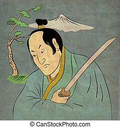 Samurai warrior with katana sword fighting stance -...