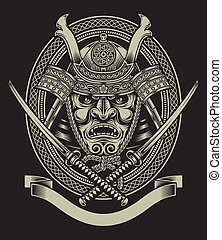 fully editable vector illustration (editable EPS) of samurai warrior with katana sword isolated on black background, image suitable for crest, emblem, insignia, t-shirt design or tattoo,