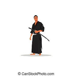 Samurai Warrior With Katana Sword. Vector Illustration.