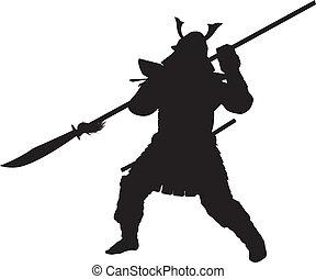 Samurai. Warriors Theme - Samurai warrior with halberd...