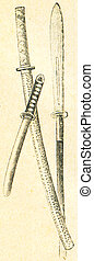 Samurai Weapons: Katana, Tanto, Kikuchi, used in the Kamakura period, 12-13 century  - an illustration of the encyclopedia publishers Education, St. Petersburg, Russian Empire, 1896