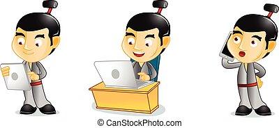 Samurai with phone mascot