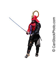 Samurai with sword-fighting position,isolated over white...