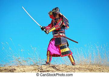 samurai, zeichen, sword., kostüm, original, mann