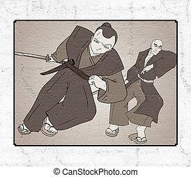 samuraj, ilustrace