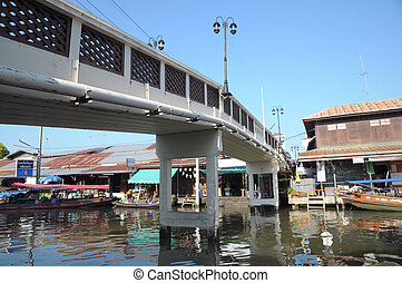 SAMUT SONGKHRAM, THAILAND - November 3: Ampahwa floating market on November 3, 2013 in Samut Songkhram, Thailand. Amphawa is one of the most famous floating markets in the world.
