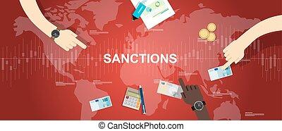 sanções, economia, financeiro, disputa, ilustração, fundo,...
