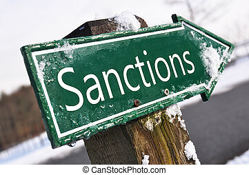 sanções, sinal estrada