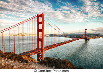 san, 门, 金色, francisco, 架桥