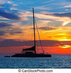 san, abad, velero, antonio, ibiza, ocaso, catamarán