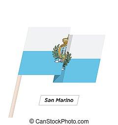 san, aislado, bandera ondeante, vector, white., marino, cinta, illustration.