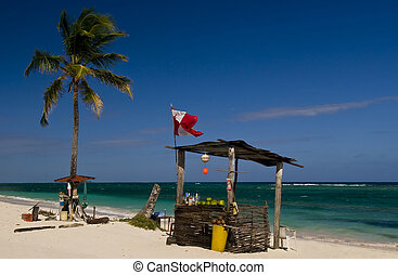 San Andres Island , Colombia - Open bar on the beach on the...