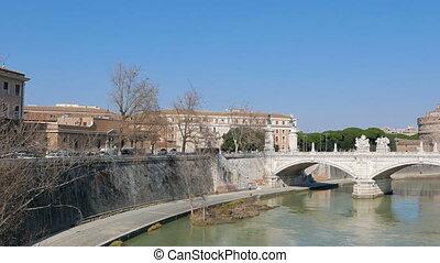 San Angelo behind ponte Vittorio Emanuele II. Tiber,  Rome, Italy