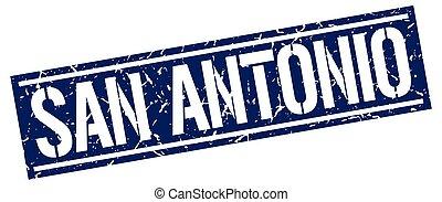 San Antonio blue square stamp