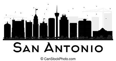 San Antonio City skyline black and white silhouette.