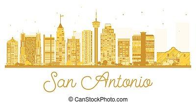 San Antonio City skyline golden silhouette.