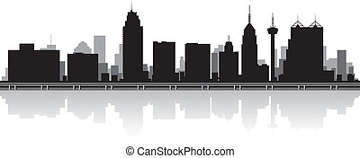 San Antonio city skyline silhouette - San Antonio USA city...