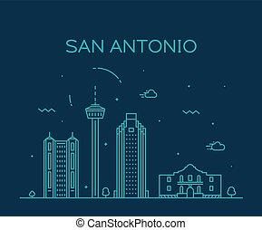 San Antonio city skyline Texas USA vector linear
