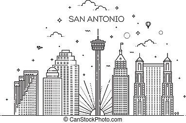 Linear banner of San Antonio. Vector illustration