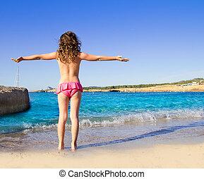 san antonio, ibiza, niña, playa, vista trasera