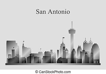 san antonio, perfil de ciudad, silueta, en, grayscale