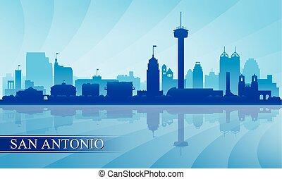san antonio, perfil de ciudad, silueta, plano de fondo