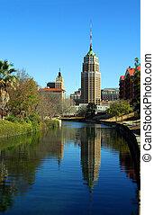 San Antonio Reflection - a riverwalk reflection of a tower...