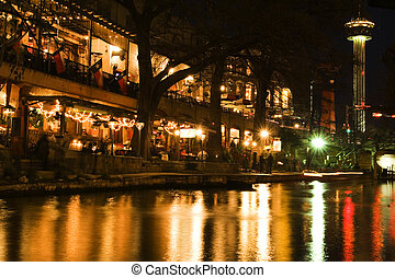 Nighttime cafes and restaurants on San Antonio riverwalk, Texas
