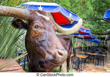 San Antonio Riverwalk Cafe - A stuffed steer greets patrons...